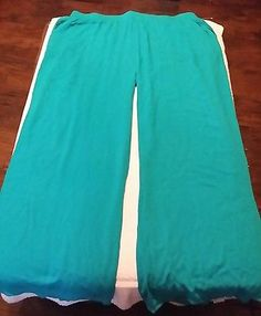 Ambiance Apperal Women's Aqua Pull On Casual Pants 100% Rayon Size 3X NWOT
