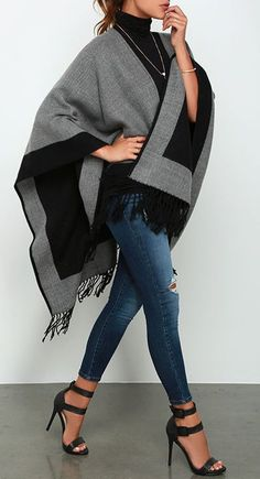Womens Fashion - Precipice Palace Black and Grey Poncho