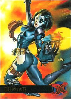 Domino- Fleer Ultra X-Men card.so many pockets Girls Characters, Comic Book Characters, Comic Books Art, Comic Art, Book Art, Female Characters, Domino Marvel, Marvel X, Marvel Heroes