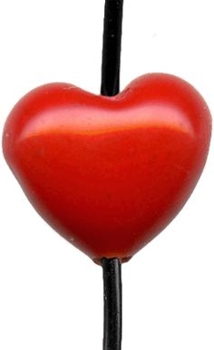 Lampwork Handmade Glass Beads, Small Heart - Red