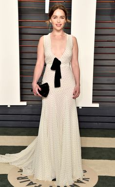 Emilia Clarke in a Miu Miu gown with Jacob & Co. Jewlery at Vanity Fair's Oscars party 2016 #MiuMiuCrlebs