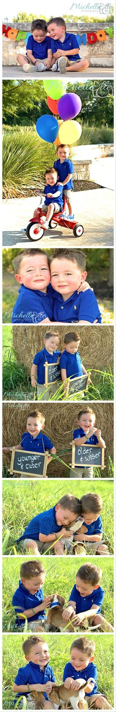 Twin boys birthday photo shoot, 3 year old boy photography ideas, brothers, boys and puppy photo https://m.facebook.com/MichelleEllePhotography