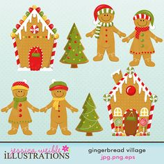 Gingerbread Village set comes with 8 Christmas graphics including: 2 cute gingerbread houses, 2 gingerbread christmas trees, 2 gingerbread boys and 2 gingerbread girls. Graphics are made in High Quality 300 dpi and come in JPG, PNG & EPS format. Gingerbread Christmas Tree, Gingerbread Village, Christmas Rock, Christmas Time, Gingerbread Houses, Merry Christmas, Christmas Graphics, Class Decoration, Art For Art Sake