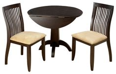 Exquisite Jofran dark chianti double drop leaf bistro table and 2 chairs