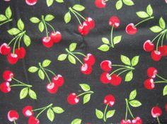 Red Cherries on Black Robert Kaufman's Fruit by greenlioness, $12.00