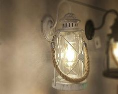 Wood Light Sconce Gas Lamp medieval Wall lamp farm house   Etsy Rustic Lamps, Rustic Lighting, Shop Lighting, Sconce Lighting, Rope Shelves, Beach House Decor, Wooden Walls, Lampshades, Vintage Antiques