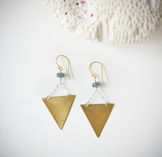 brass chandelier earrings with moss aquamarine /// by LaLoreley, $39.00