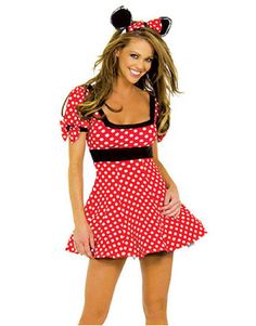 ADULT LADIES SEXY DISNEY MINNIE MOUSE COSTUME AND HEADBAND  2 4 6 8 10 12 14