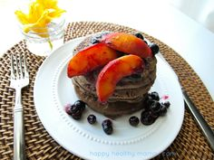 Just made these for dinner and they're outstanding, amazingly delicious, best pancake I've ever had unbelievable     Healthy Buckwheat Pancakes with Roasted Peaches and Blueberries
