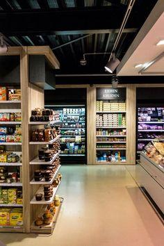 Supermarket Design, Supermarket Shelves, Industrial Bedroom Design, Cafe Counter, Retail Space, Hospitality Design, New Market, Store Fronts, Retail Design
