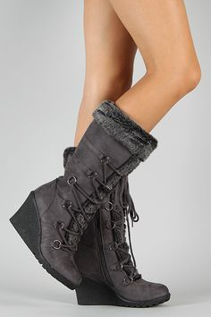 These knee high boots feature a round toe, stitching accents, and slouchy shaft design. Knee High Wedge Boots, Thigh High Boots Heels, Heeled Boots, Boot Heels, Flat Boots, Women's Boots, Cute Boots, Me Too Shoes, Fashion Shoes