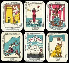 Rarität 1959 Glahn Deutsches Original Tarot Kartenspiel Hermann Bauer Verlag