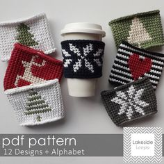 With 12 original designs plus every letter of the alphabet this crochet coffee cozy pattern will help you create endless gifts for friends & family. Crochet your husbands initials on his… Crochet Coffee Cozy, Crochet Cozy, Crochet Gifts, Crochet Hooks, Coffee Cup Cozy, Coffee Corner, Coffee Creamer, Iced Coffee, Coffee Drinks