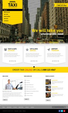 Taxi Cab Cooperative Service Bootstrap HTML Template on Behance #taxicabservice #cleanwebdesign