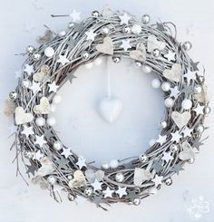 White Christmas Door  Wreath Winter. $35.00, via Etsy.