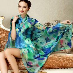 2016 Women Long Silk Scarf Shawl Spring Autumn Female Silk Scarves Printed Summer 100% Mulberry Silk Beach Cover-ups 175*110CM