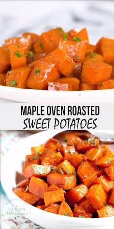 Maple Oven Roasted Sweet Potatoes Oven Roasted Sweet Potatoes are coated in a tasty maple syrup mixture and roasted until tender, caramelized and slightly golden. These delicious roasted sweet potatoes are easy to make and always a favorite! Side Dish Recipes, Veggie Recipes, Cooking Recipes, Healthy Recipes, Side Dishes, Yam Recipes, Appetizer Recipes, Main Dishes, Dinner Recipes