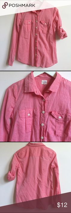 """button down shirt button down shirt with two chest pockets. sleeves can be rolled. length: 26"""" sleeve: 23.5"""" J. Crew Tops Button Down Shirts"""