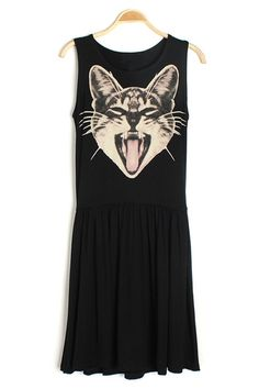Cat Print A Line Dress