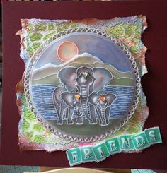 Elephant baby and landscape plates plus plate mate Groovi card created by Julie