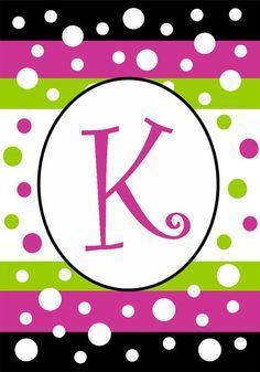 """K"" Monogram Mini Flag - Polka Dot Party"