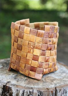 Birch Bark Woven Basket by John Zasada, instructor at the John C. Campbell Folk School | folkschool.org #folkschool #brasstown