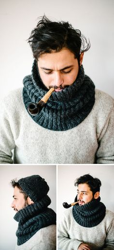 """Knitting Patterns Cowl """"mantastic"""" cowl, The Hemingway, made by Süsk & Banoo. Cowl pattern by the Purl Bee here www. Purl Bee, Crochet Scarves, Knit Crochet, Crochet Hats, Crochet Style, Knit Hats, Crochet Stitch, Crochet Granny, Hand Crochet"""