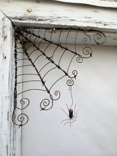 "Czechoslovakian Purple Spider Dangles From 12""  Barbed Wire Corner Spider Web"