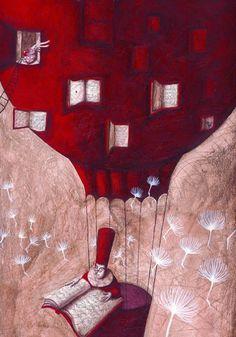 Flying with reading / Volando con la lectura (ilustración de Kinga Rofusz)