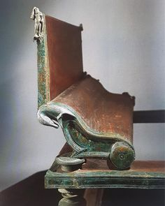 A bronze and wood Triclinium bed from the House of Menander, Pompeii.