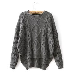 SheIn(sheinside) Grey Diamond Patterned Dipped Hem Knit Sweater ($12) ❤ liked on Polyvore featuring tops, sweaters, shirts, tops // jackets, grey, long-sleeve shirt, long sleeve pullover, cable knit sweater, grey sweater and long sleeve shirts
