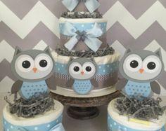 Lot de 3 centres de gâteau de couche hibou en bleu et gris, décorations de douche de bébé hibou pour les garçons