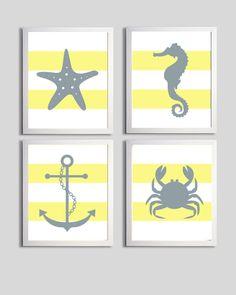 ONE DAY FAR FAR AWAY--Nursery Art Stripes Nautical Beach Ocean Sea Yellow Grey more colors available set of 4 each 11x14. $56.00, via Etsy.