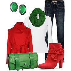 """""""Red and Green"""" by brianaa-x on Polyvore"""