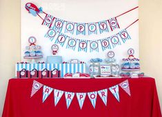 Red and blue dessert table at a airplane birthday party! See more party ideas at CatchMyParty.com!