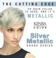 The Kenra Color Silver Metallic shade series neutralizes warmth and creates shimmering metallic tones on pre-lightened hair.