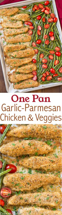 One Pan Roasted Garlic-Parmesan Chicken Tenders and Green Beans with Fresh Grape Tomatoes - this chicken is so good! I loved that everything was baked together on one sheet pan!