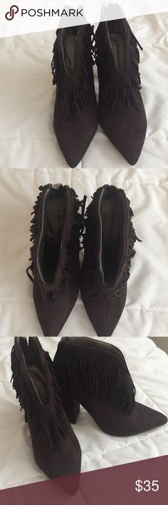 Michael Antonio fringe booties in suede brown Great shoe! Michael Antonio Shoes Ankle Boots & Booties