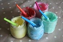 Homemade edible finger paint: just cornstarch, water, and food coloring. I think I will make some of these and have James play with them *in the tub!*