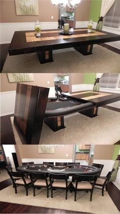 Screw man cave this should be our dining table. For the man cave/Pour la pièce de l'homme de la maison Decoration Design, Deco Design, Design Design, Custom Pool Tables, Pool Table Dining Table, Dinner Table, Woman Cave, Entertainment Room, My Dream Home