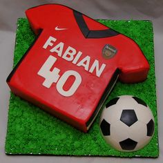 3D Arsenal soccer jersey and soccer ball cake - - Cake in Cup NY