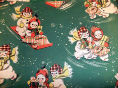 vintage Christmas wrapping paper - snowmen