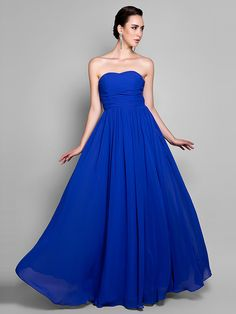 Formal Evening / Prom / Military Ball Dress - Royal Blue Plus Sizes / Petite A-line Sweetheart Ankle-length Chiffon - USD $79.99