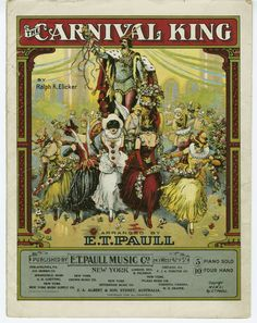vintage carnival halloween   Vintage Ephemera: Sheet music cover,The Carnival King - 1911