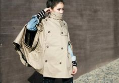 I want this ---- Stand Collar Double-Breasted Cloak Style Batwing Sleeve Combed Cotton Coat