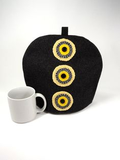 Wool tea pot cozy Grey yellow teapot cover Primitive penny Eco friendly upcycled materials