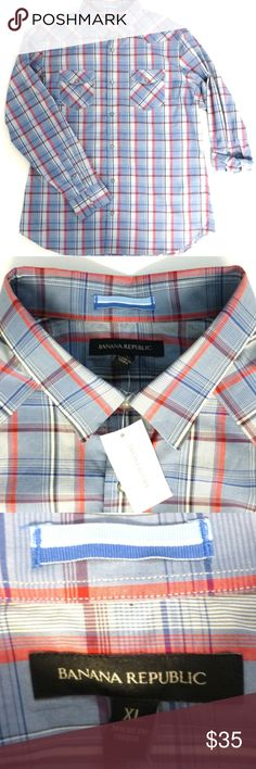 "Banana Republic XL Western Pearl Snap Shirt nwt New with tag. Western style shirt with front and back yoke. Point collar. Pearl snap front. 2 chest pockets. Long sleeves with tabs for rolling up. Shirt tail hem. 97% cotton 3% spandex. 25.75"" measured flat armpit to armpit. 32"" from back of neck to hem. Machine wash. Banana Republic Shirts Casual Button Down Shirts"