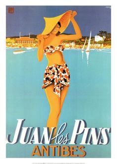 Vintage travel poster - France - Juan les Pins, Antibes