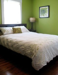 Love this wall color and picture.  Small Bedroom Ideas: 10 Inspiring Bedrooms Stylish Despite Their Small Space