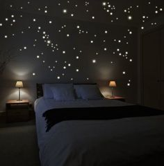 stars on the ceiling and walls. I have 750 stars on our bedroom ceiling and I never get tired of looking at them before falling asleep.